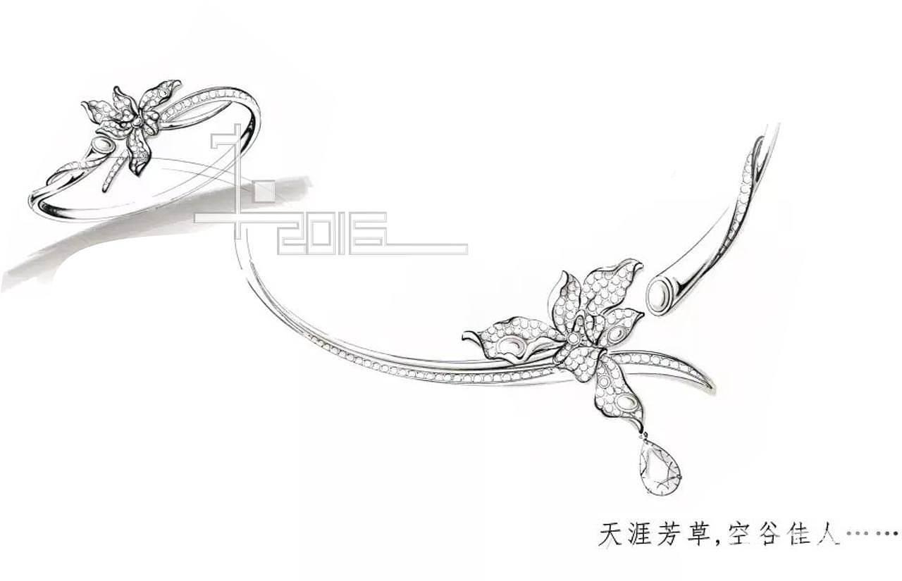 兰花首饰手绘图片
