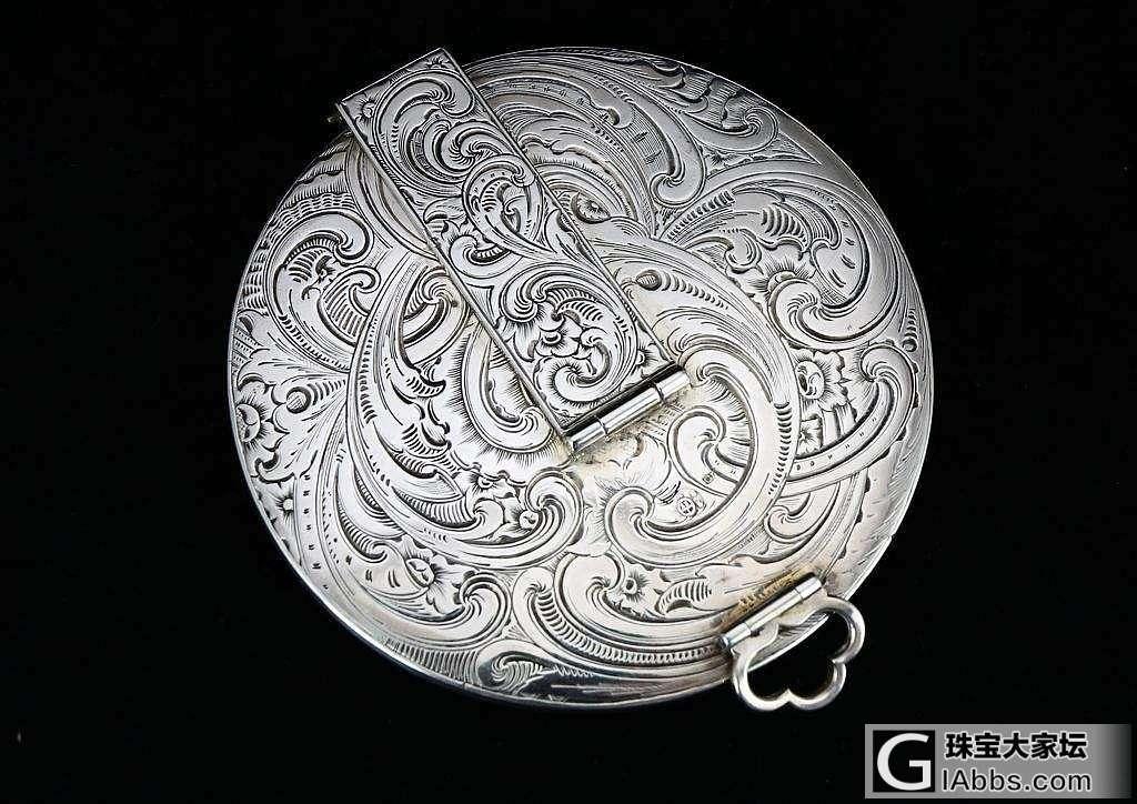 英国古董银器 洛可可风格 雕花花纹 便携用镜 随身化妆镜